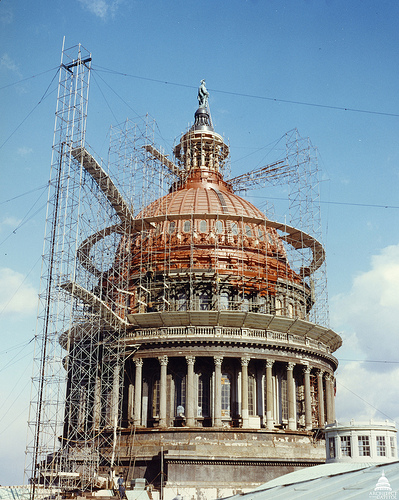 Scaffolding at Capitol Dome near 1959.