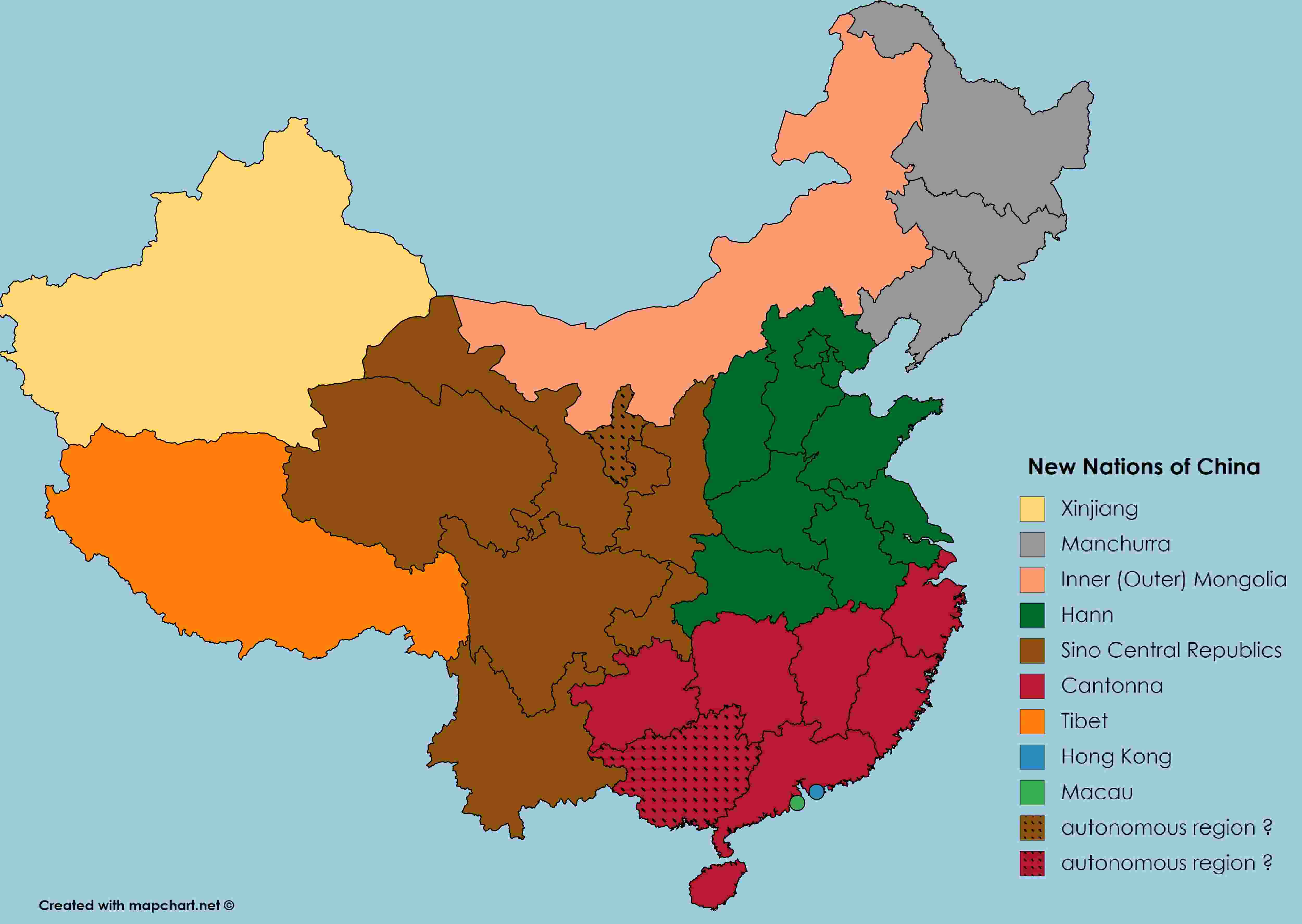 'New Nations of China' Map with color key